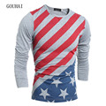 2017 New Fashion Mens Long Sleeve Shirts Print Men Casual T shirt O Neck Spring Autumn Camisa Masculina M-XXL Tops Tees For Men