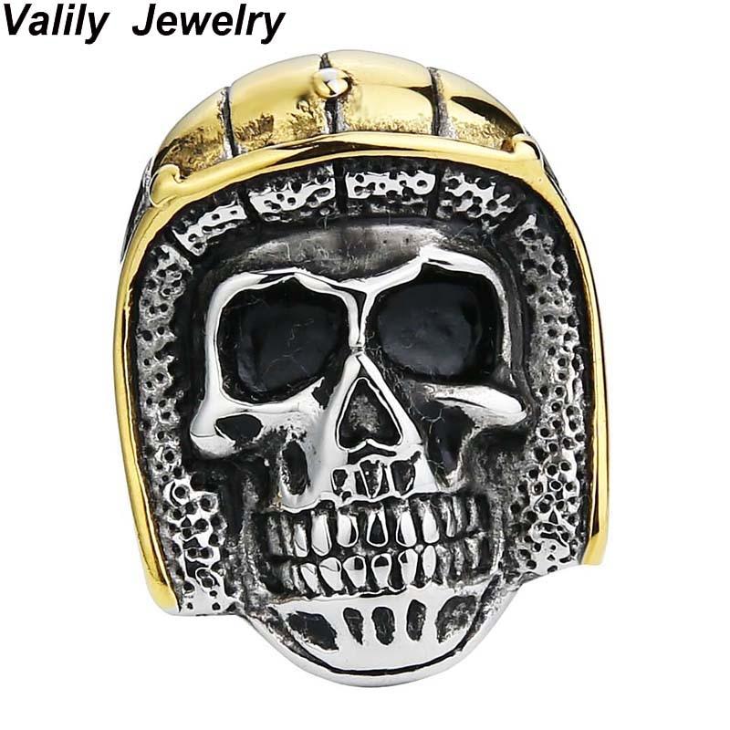 EdgLifU Acier soldat Anneaux nouveau style en acier inoxydable Or Noir crâne anneau pour hommes unique vintage bijoux, NOUS taille