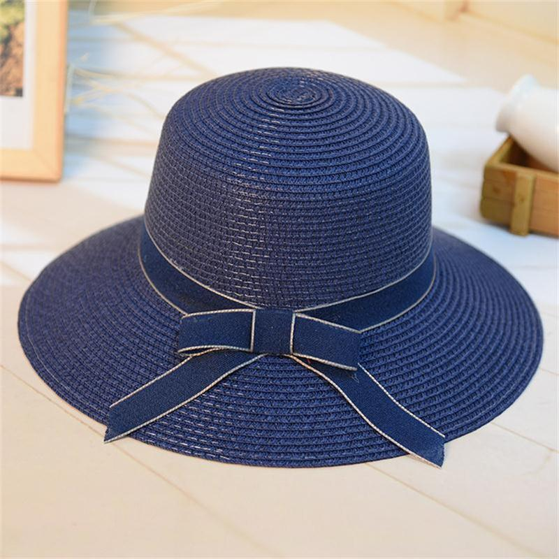 ac9955f1a74 Fashion Women s Casual Sun Hat Straw DIY Woven Beach Hat Summer Hats ...