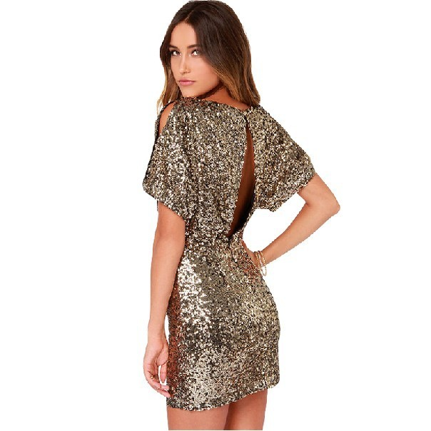 Women Short Sleeve Gold Sequin Sexy Dress Hollow Out Design Slim Fit Party  Night Club Dresses Summer Evening Robe Femme 6a14d5f51a4c