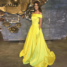 Simple Yellow Evening Dresses Long 2019 A-Line Boat Neck Off The Shoulder Satin Saudi Arabic Women Formal Prom Gown Party Dress цена и фото