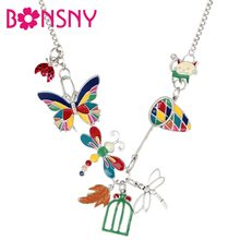 Bonsny Enamel Alloy Butterfly Dragonfly Ladybug Cat Necklace Pendant Natural Insect Jewelry For Women Girls Teens Gift Spring(China)