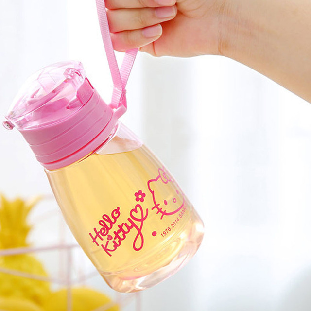 350ML Plastic Kitty Straw Water Cup Leakproof Children Bottle for Water Portable BPA Free Hiking Tumbler With Rope