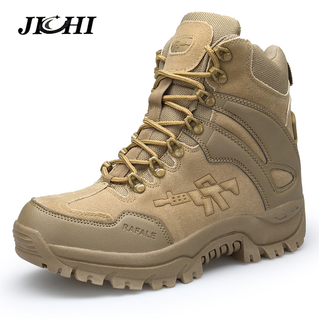 JICHI erkek askeri postal Savaş Mens Chukka bileğe kadar bot Taktik Büyük Boy Ordu Önyükleme Erkek Ayakkabıları Güvenlik Motosiklet Çizmeler