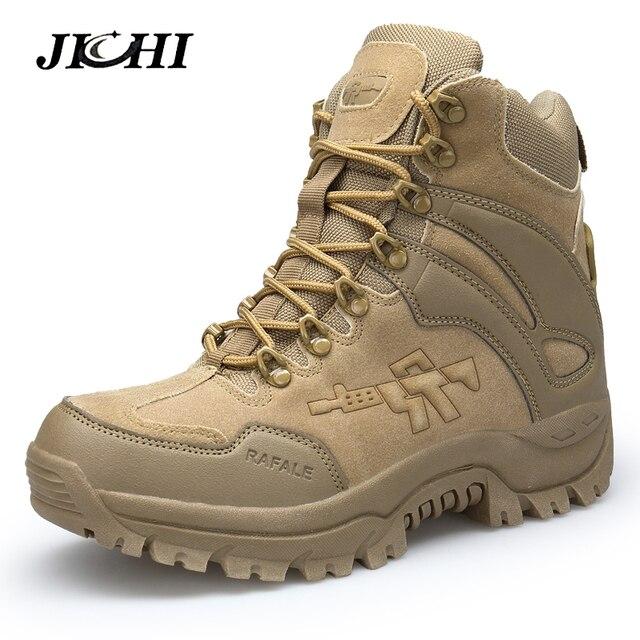 JICHI mannen Militaire boot Combat Heren Chukka Enkellaars Tactical Big Size Army Boot Mannelijke Schoenen Veiligheid Motocycle Laarzen