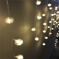 Multi Color 4M 100LED Snowball Star Edelweiss Curtain String Lights Christmas Wedding Party Holiday Garden Decoration