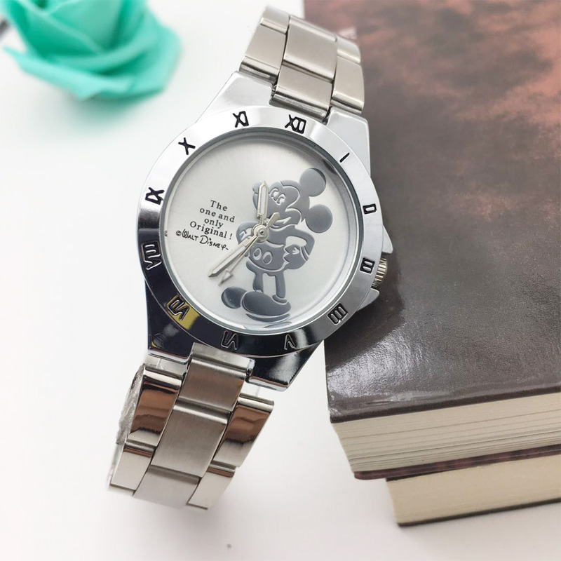 Hot Fashion 3D Cartoon Minnie Mouse Watch For Kids Children Student's Analog Quartz Watches Steel Bracelet Girl Clock Women Gift