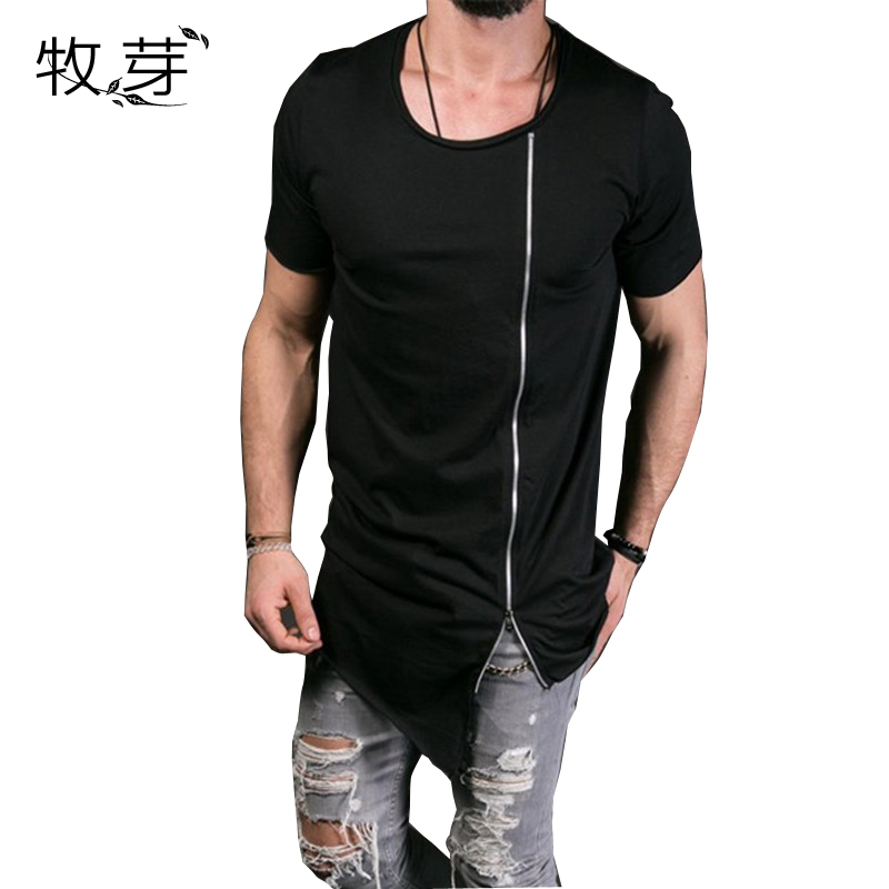 New Fashion Asymmetrical Men Long T Shirt  Side Zipper O Neck Short Sleeve T-Shirt Hip Hip Tops Tee Long Middle Zipper Tshirt