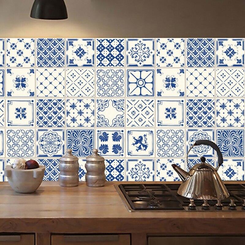 20pcs Self-adhesive Mandala Wall Tiles Stickers Waist Line Kitchen Wall Sticker PVC Floor Wallpaper Home Decor Bright Color