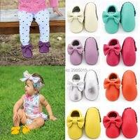 Hakiki Deri Bebek Ayakkabıları Yay Tarzı Yürüyor Fringe Moccasins Yeni Doğan Bebek Kız Ayakkabı El Yapımı Ilk Yürüyüşe Ayakkabı Anti-kayma