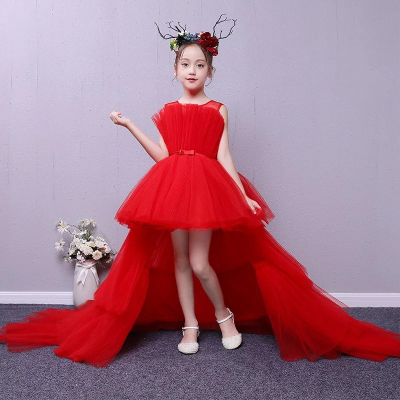 2018 Summer New Baby Kids Elegant Red/Pink/Blue Color Birthday Wedding Party Long Layered Mesh Tail Dress Little Girls Dress цена 2017