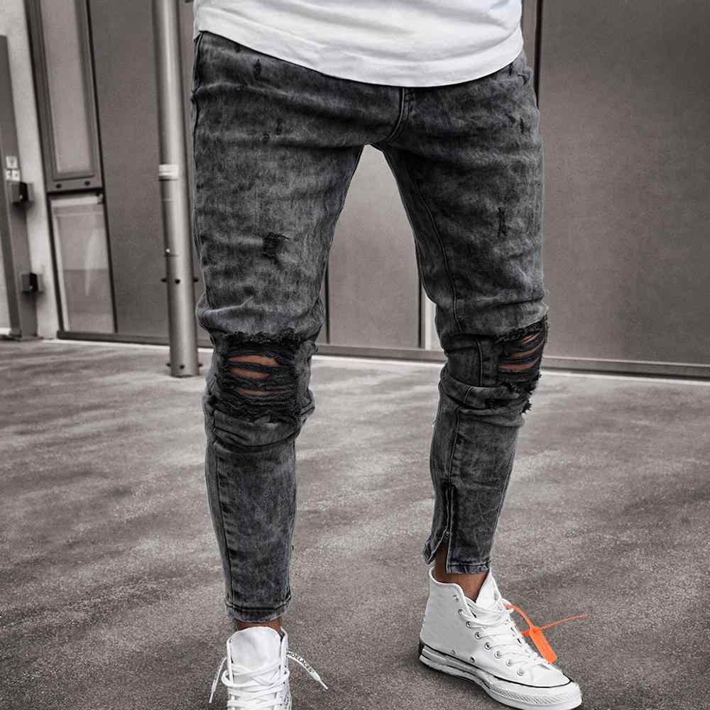 ec03131c0d3 ... Skinny Jeans Men Black Jeans Skinny Ripped Destroyed Stretch Slim Fit  Hop Hop Pants With Holes