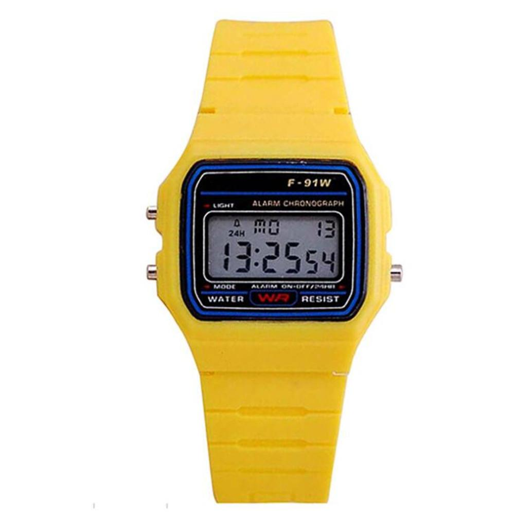 LinTimes Amyove Men Women Kids Electronic LED Digital Multifunction Plastic Sports Wrist Watch Yellow