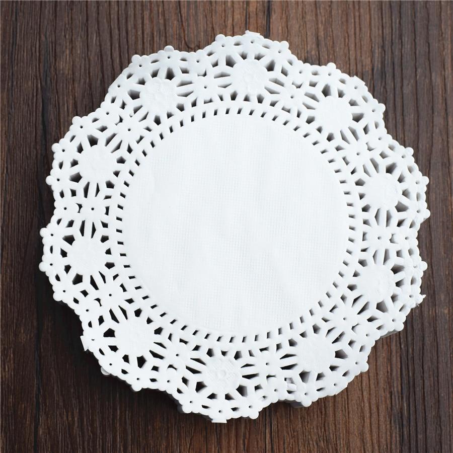 250Pcs 45 Inch 114cm White Round Lace Paper Doilies