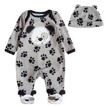Одежда для маленьких мальчиков и девочек с шапочкой; комбинезоны для новорожденных; флисовые комбинезоны с длинными рукавами для маленьких мальчиков и девочек; весенне-осенняя одежда