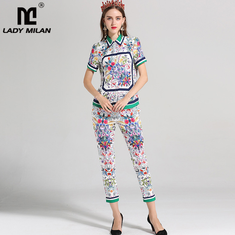 Lady Milan Womens Turn Down Collar Short Sleeves Shirts with 3/4 Floral Pants Fashion Runway Twinsets Designer Two Piece Pants
