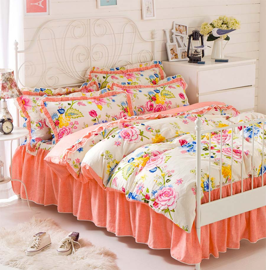 Colorful flower bedding - Pastoral Flower Bedding Set Teen Child Kid Cotton Twin Full Queen Single Double Bedclothes Flat