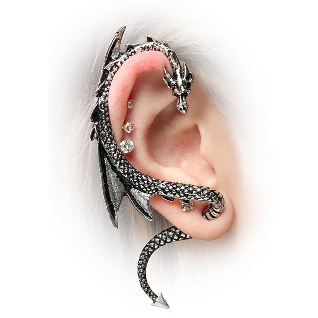 Personality Gothic Punk Rock Vintage Dragon Ear Cuff Earrings For Women Men Earcuff Orecchini