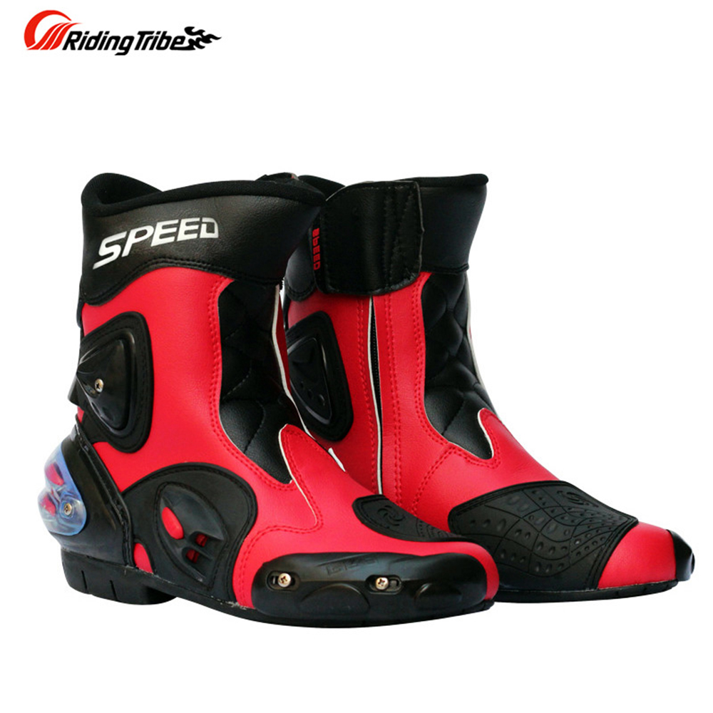 все цены на Motorcycle Racing Boots Pro-Biker Speed A004 super Leather Motorbike Motocross Road Riding mid-calf Boots moto shoes