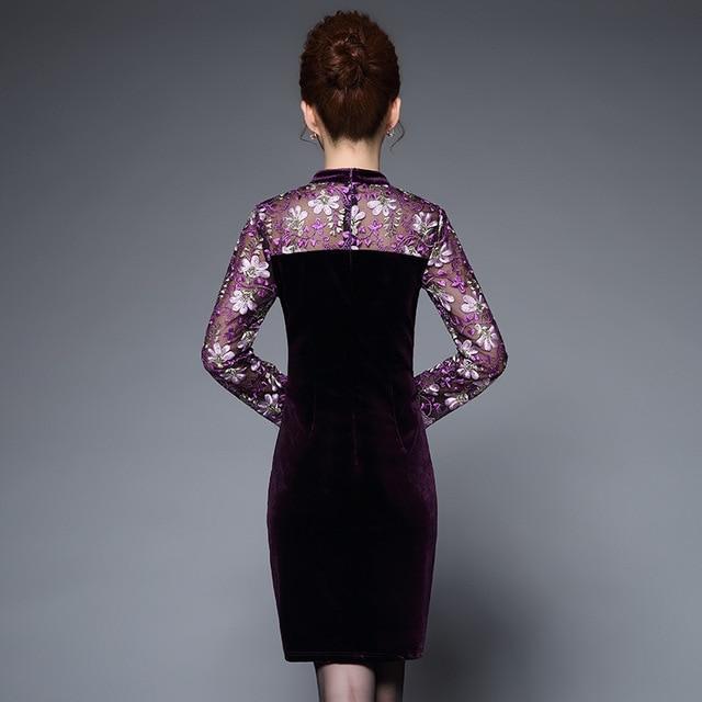 fashion Embroidery patchwork pencil dress women big size Elegant christmas party dress vintage slim waist office dress
