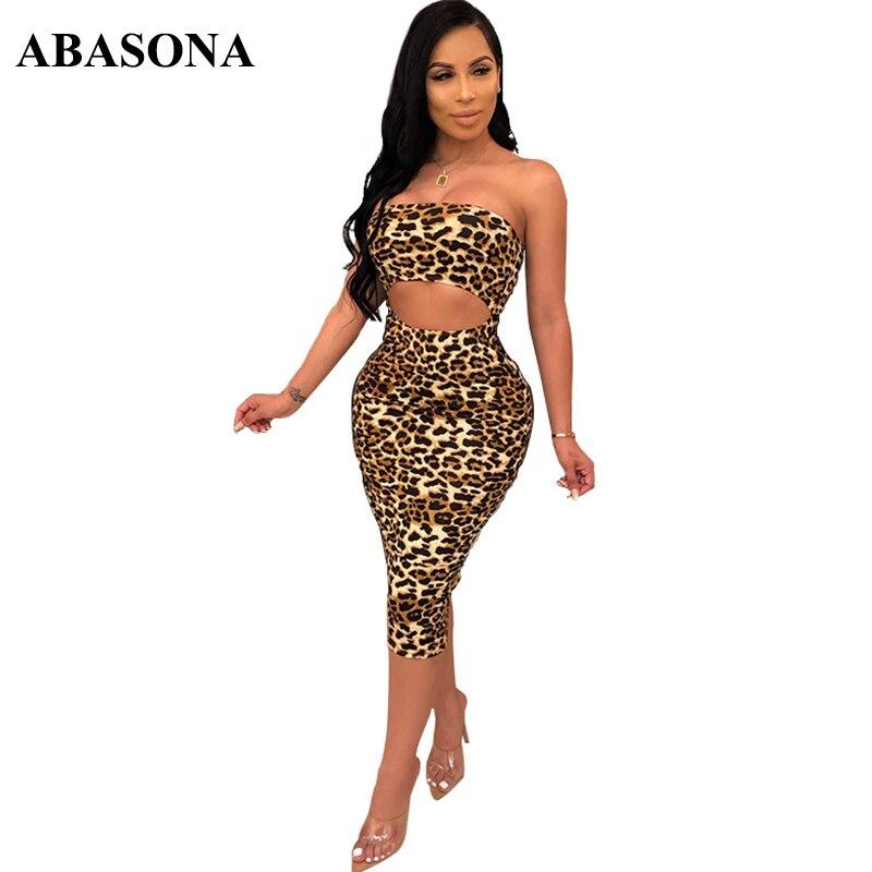 ABASONA Women Summer Dress 2019 New Fashion Strapless Stretch Leopard Print Sexy Bodycon Evening Party Dresses Vestido Plus Size