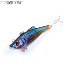 1pcs Hard Bait lifelike Painted Swimbait Crankbait Wobbler Artificial Fly Fishing VIB 8 # hooks 7CM 6.5G Fishing tackle FA-446