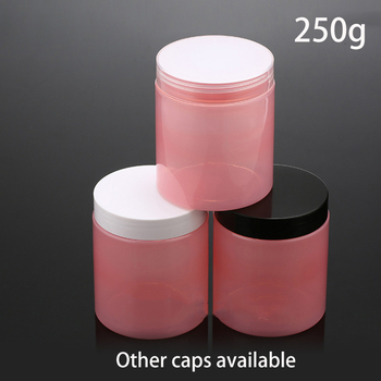 Free Shipping Pink 250g Plastic Cosmetic Cream Jar 250ml Make up Poly Gel Face Mask Lotion Candy Pill Packing Bottle 10pcs