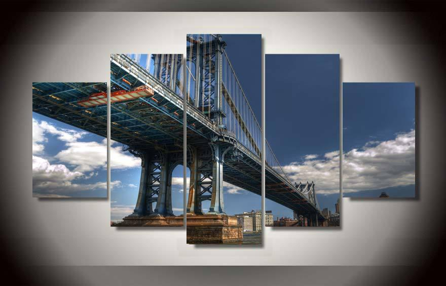 printed new york manhattan painting on canvas room decoration print poster picture canvas framed black and