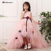 Luxurious Pink Princess Cloud little flower girls dresses for weddings kids Children Party dresses 2018 Floor Length Ball Gown