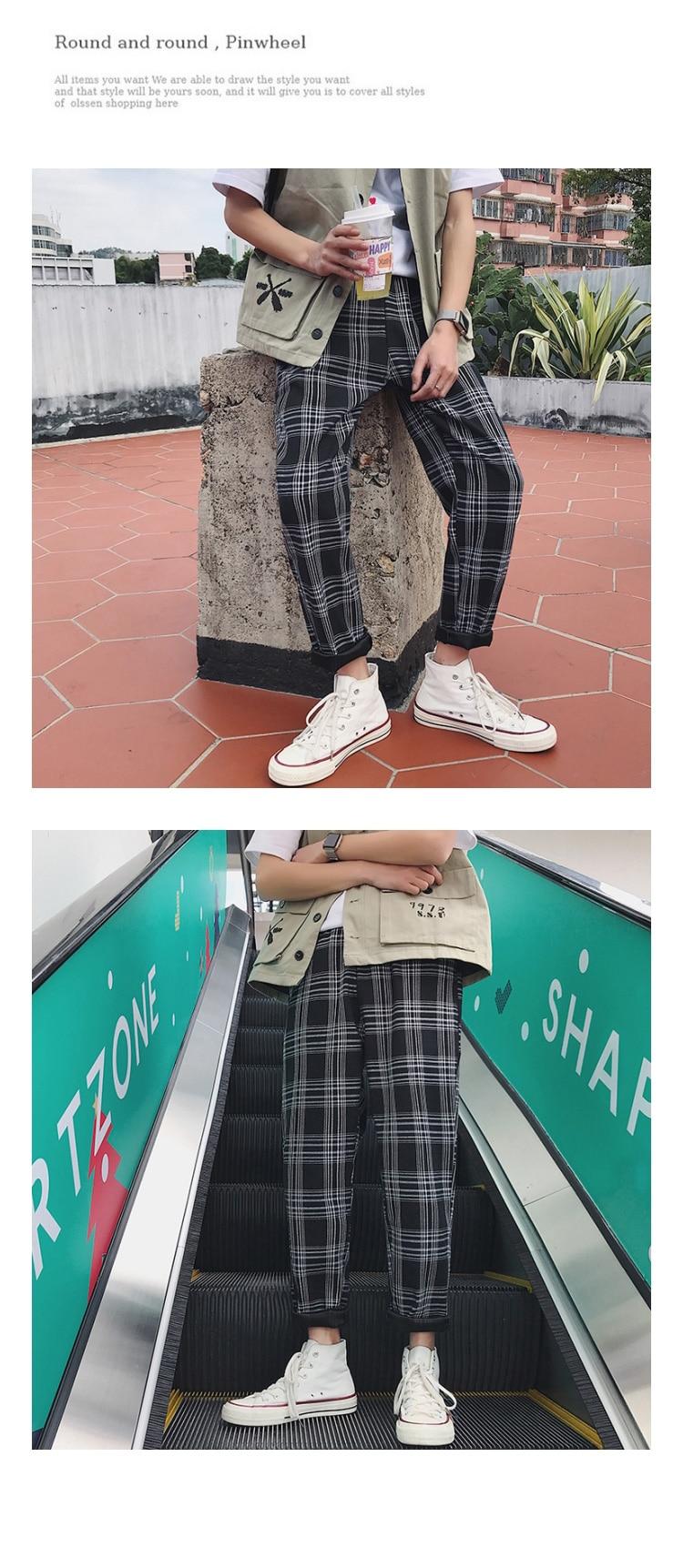 HTB1F1KobvvsK1RjSspdq6AZepXaB LAPPSTER Streetwear Yellow Plaid Pants Men Joggers 2019 Man Casual Straight Harem Pants Men Korean Hip Hop Track Pants Plus Size