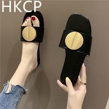 HKCP Fashion 2019 new summer cool slippers women wear fashion flat bottom joker beach shoes holiday buckle C272