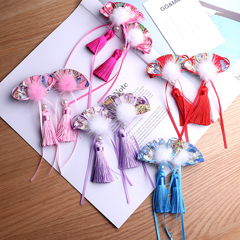 434110ed5 2pcs/lot Kids Hairpins Girls Umbrella B Chinese National Style Tassels Hair  Clip Tang suit ...