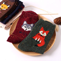 Women Thick Socks Retro Animal Pattern Rabbit Wool Socks Autumn Winter Cute Cartoon Fox Wolf Warm High Quality