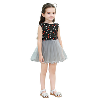 Summer Cotton Red White Heart Embroidery V Back Patch Mesh Lace Sleeveless Baby Girls Princess Tutu