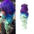 # Púrpura/Azul/Verde Ombre Clip en Extensiones 7 Unids Pinza de Pelo Humano en Extensiones de Cabello Humano Ondulado virgen Del Pelo de Remy Clip ins