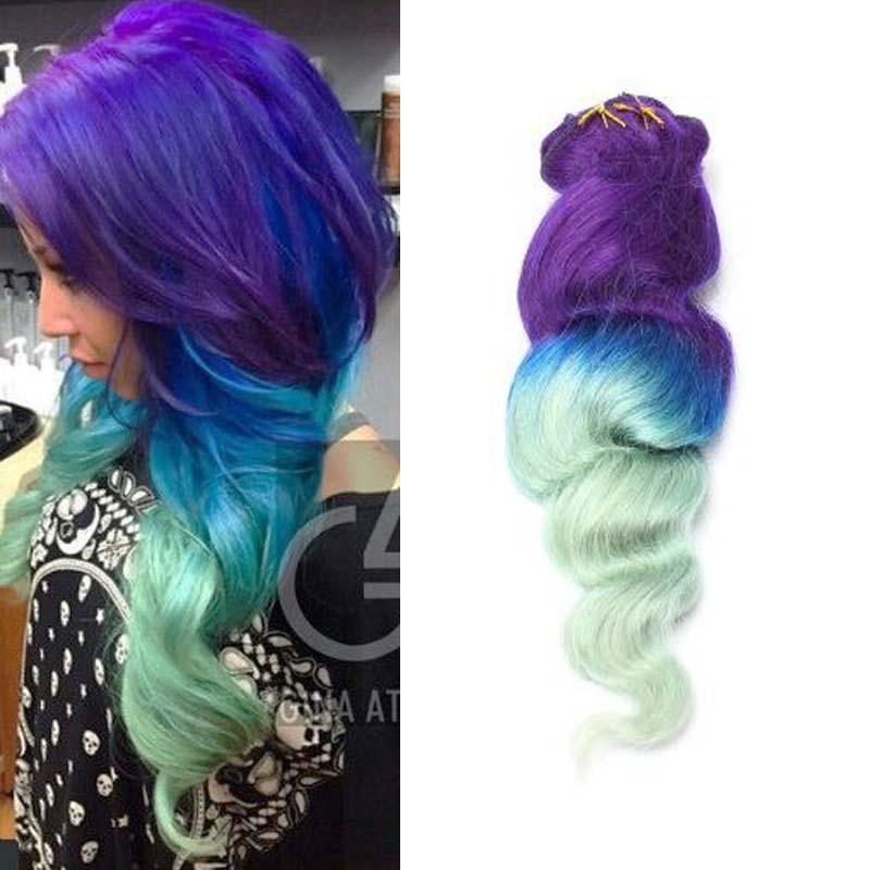 Purplebluegreen Ombre Clip In Human Hair Extensions 7pcs Human