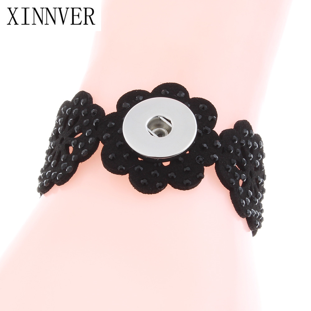 Black and Gray Color Ribbon Flower Leather Bracelet Fit 18/20mm Xinnver Snap Button DIY Jewelry Watches Women bangles ZE474