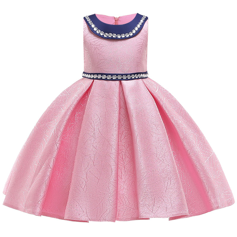 New Pure Cotton Girls Wedding Party High-end Silk Satin Dresses Girls Graduation Party Stage Performance Dresses Vestido