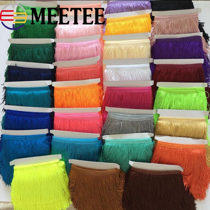 1Pc( 9Meters) 15cm Polyester Lace Trims DIY Sewing Tassel Fringe Trimming For Latin Dress Stage Garment Curtain Accessories