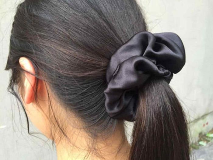 Gratis frakt 100% Pure Silk Hair Scrunchies Charm Hair Bands Mode - Kläder tillbehör - Foto 3