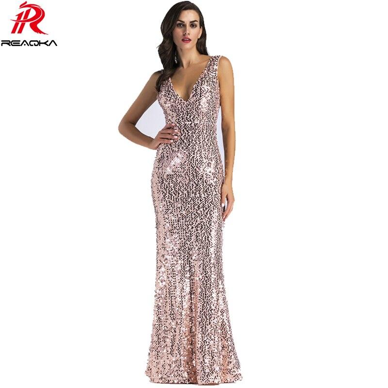 2018 Sexy Frauen Gold Pailletten Kleid Frau Weihnachten Backless ...