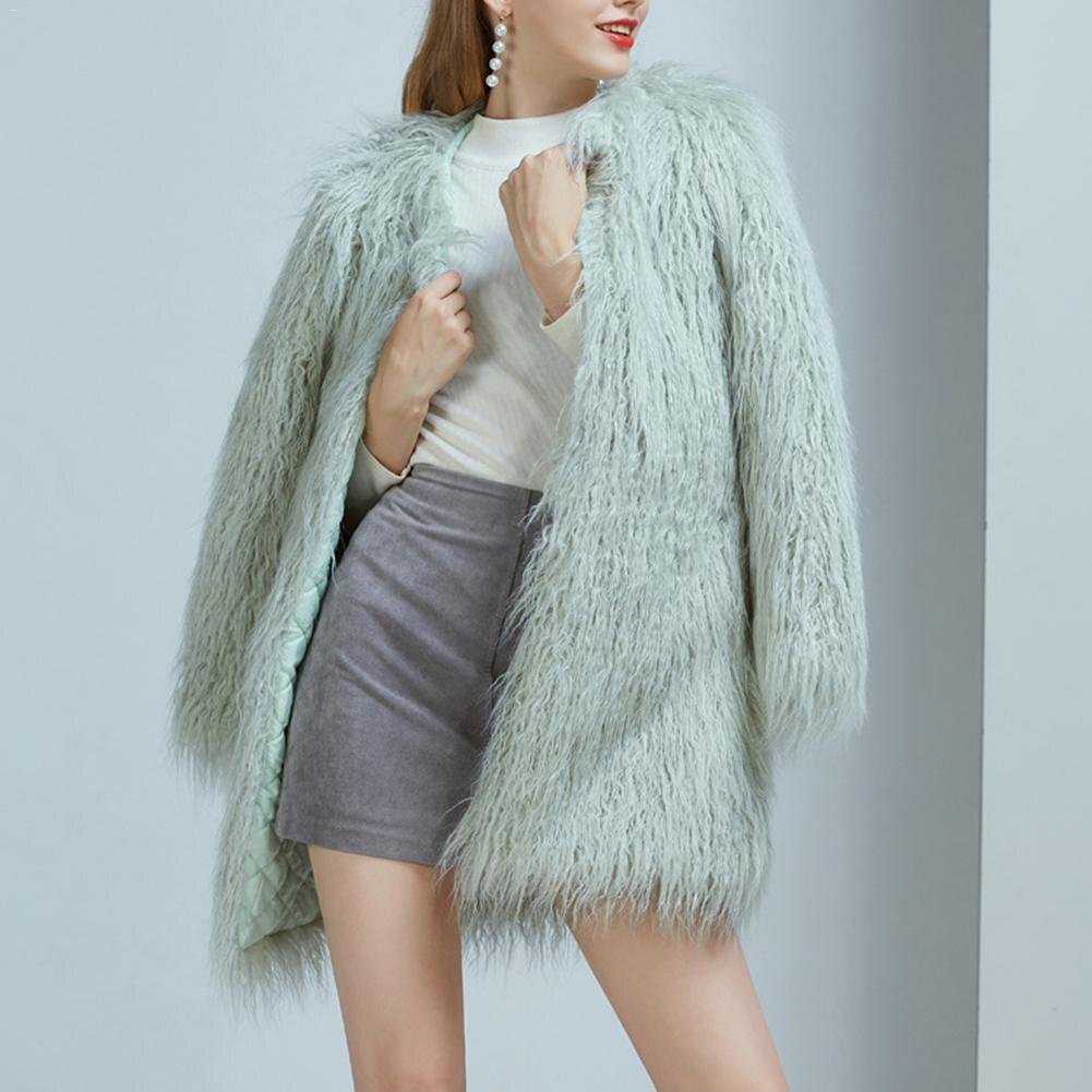 Long Automne Furry Femme Hiver Cheveux Chaud Épaississent Imitation Mode Manteau Fausse Longues Manches Longs À lavande Vestes Fourrure Manteaux Green qPwxfgE