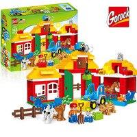 123PCS Happy Farm Big Size Building Blocks Sets Happy Zoo With Animals For Kids City DIY Toys Compatible LegoINGs Duplo Bricks