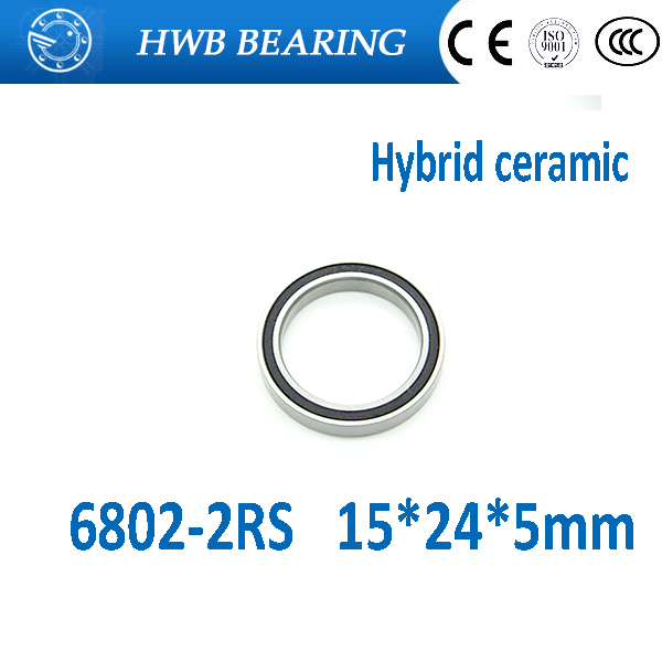 Free shippng 2Pcs 6802 2RS Si3N4 Ceramic Ball Bearing Rubber Sealed 61802 Bike Parts 15x24x5mm 6802 rs