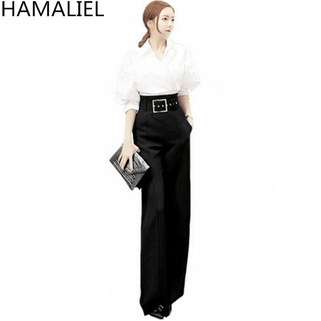 75a773e95162 HAMALIEL Autumn Women Formal Suit 2018 White Long Sleeve Irregular Work  Shirt Top + Empire Black Pant Trousers OL 2 Piece Set