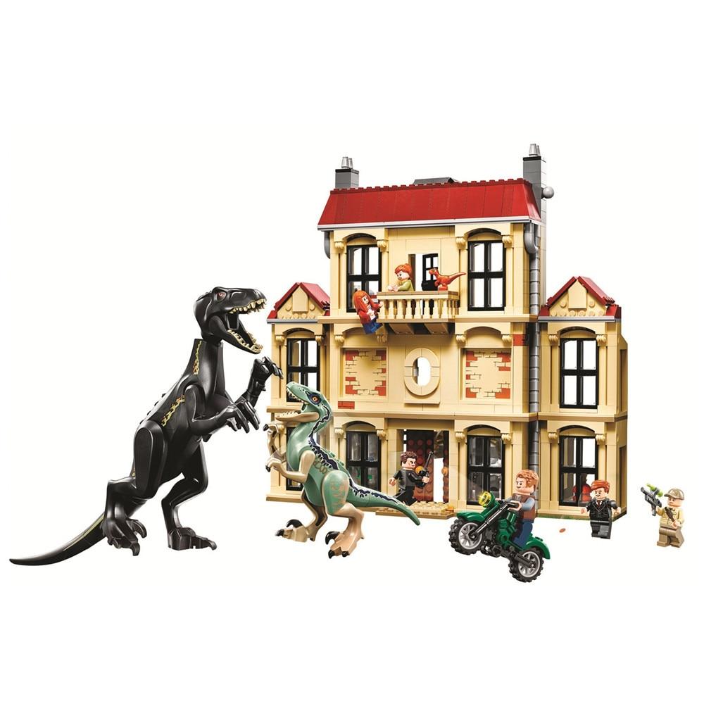 все цены на Jurassic World Indoraptor Rampage at Lockwood Estate Building Blocks Sets Bricks Classic Movie Model Kids Toys Compatible Legoe онлайн