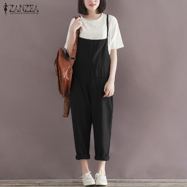 153ce5e27c7 Rompers Womens Jumpsuits 2018 ZANZEA Female Oversized Casual Loose Solid  Playsuits Strapless Sleeveless Overalls Plus Size Pants