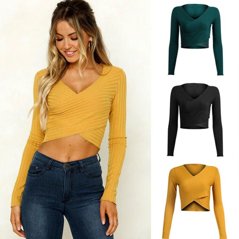Women Lady Cotton Long Sleeve Blouse Top V-Neck Base Shirt Bottom Undershirt Short Solid Blouse Regular Fashion Shirts Tops Tees