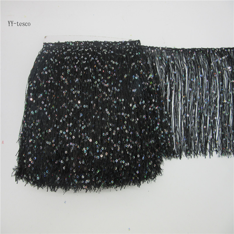 10 Yards 20CM Long Polyester Lace Tassel Fringe black Fringe Trim Lace Ribbon Sew Latin Dress Stage Garment Accessories DIY