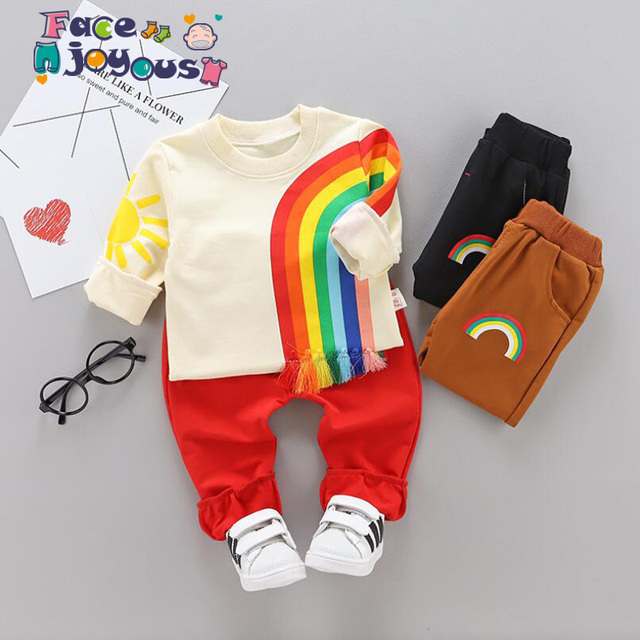 4ff2e7cb9f2 Toddler Boys Clothing Set Rainbow Long Sleeve Boutique Kids Clothing Sets  Autumn Girls Clothes Outfits Casual